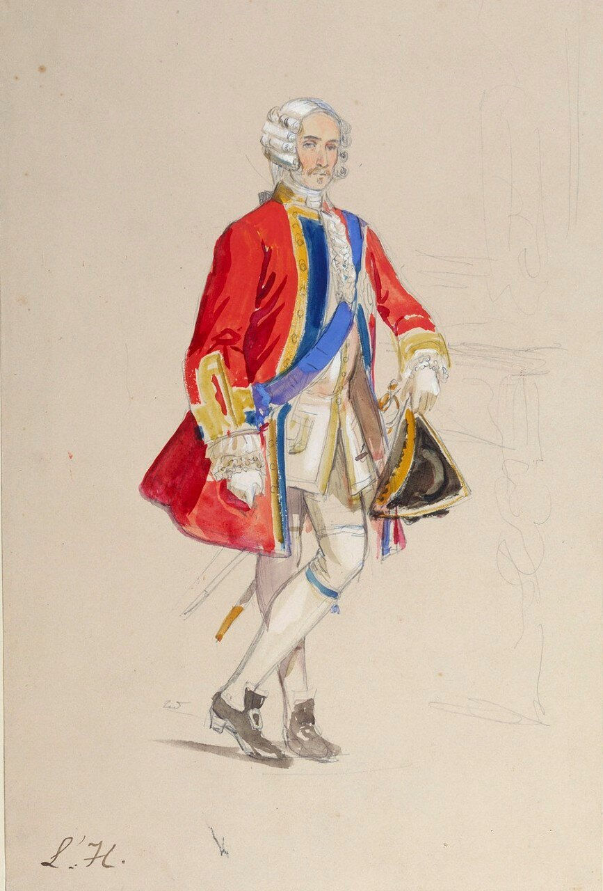 Study of Prince George of Cambridge in his costume for the fancy dress ball  drawn 1845