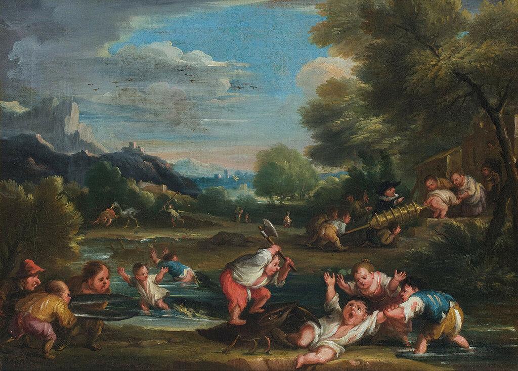1280px-Faustino_Bocchi(1659-1741)__Nano_assalito_da_un_gambero_e_soccorso_dai_compagni,_Padova,_Musei_Civici,_Museo_d'Arte.jpg