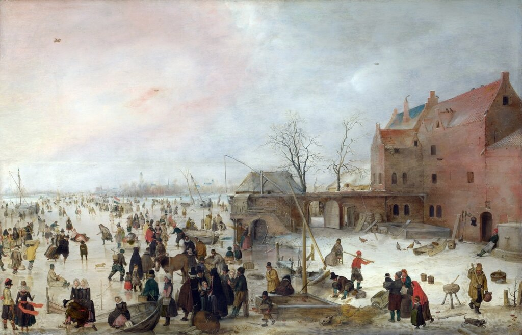 A Scene on the Ice near a Town