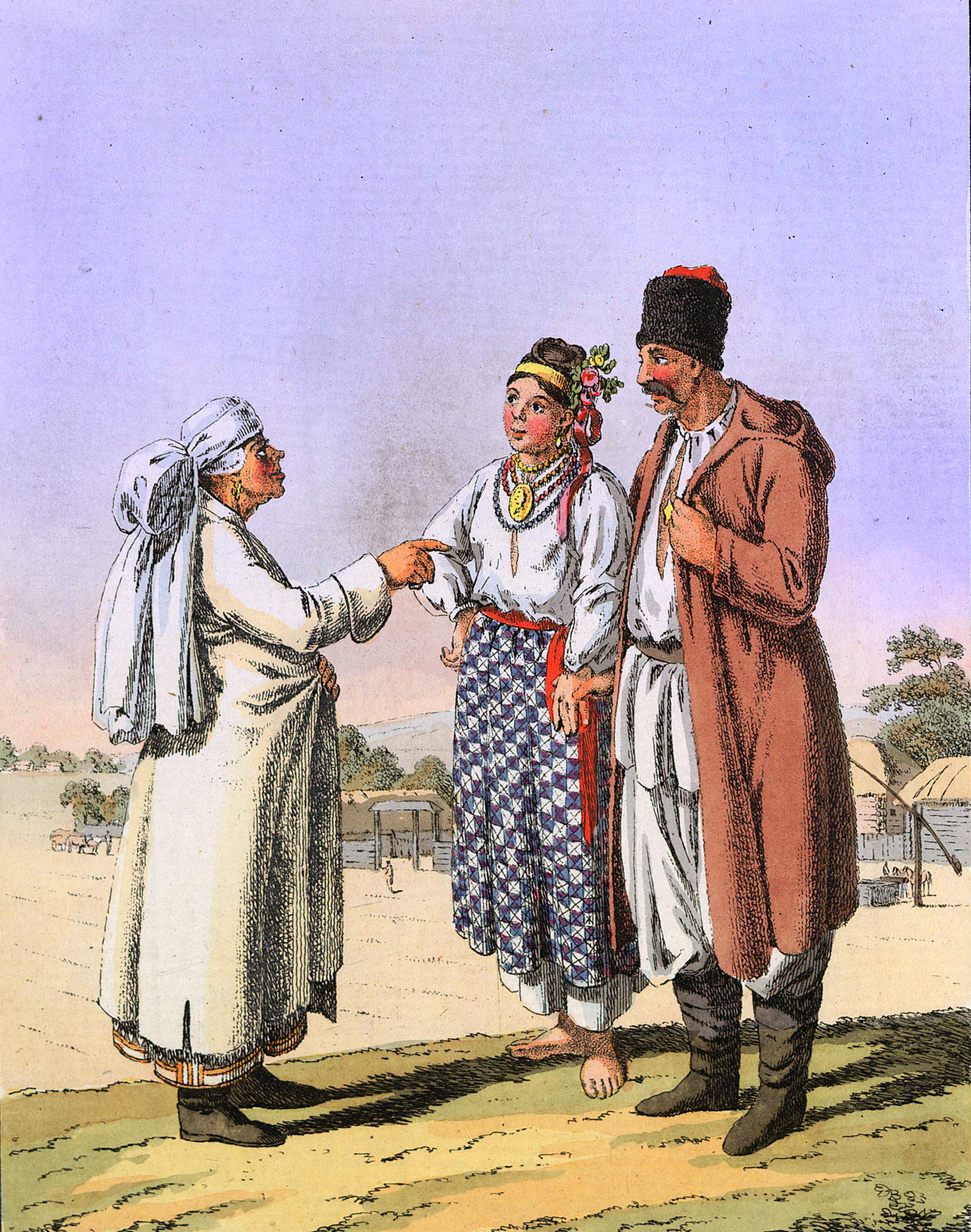 2-27. Малороссийские крестьянин и девушка в летней одежде; около — старая женщина той же страны.