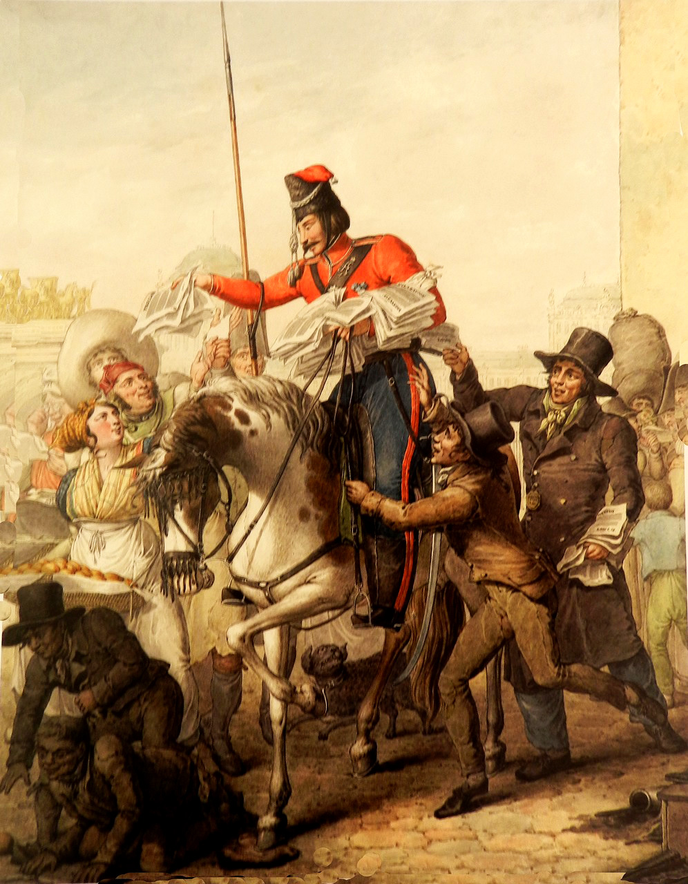4. Казак раздает парижанам напечатанную декларацию Александра I