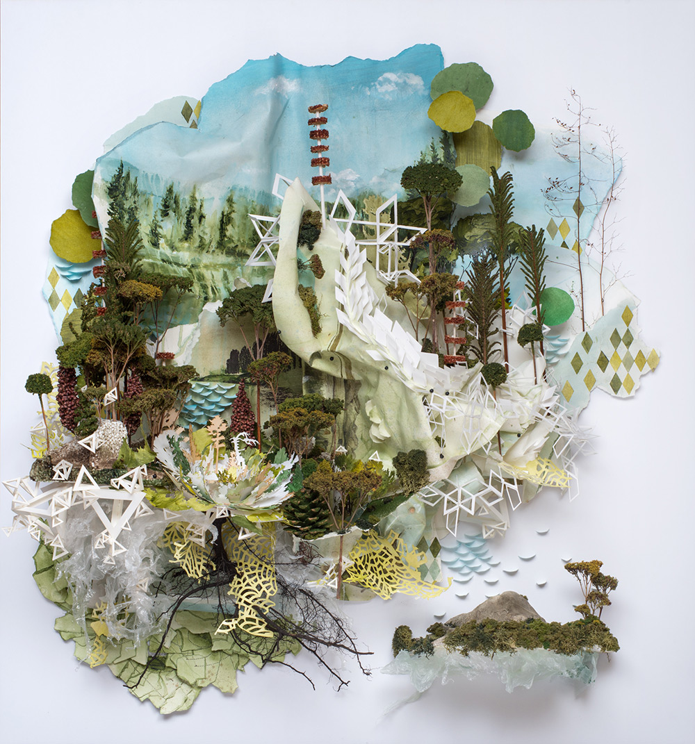 Thin White Bend Through Treetop and Twisting, 2015. Relief painting containing found and created obj