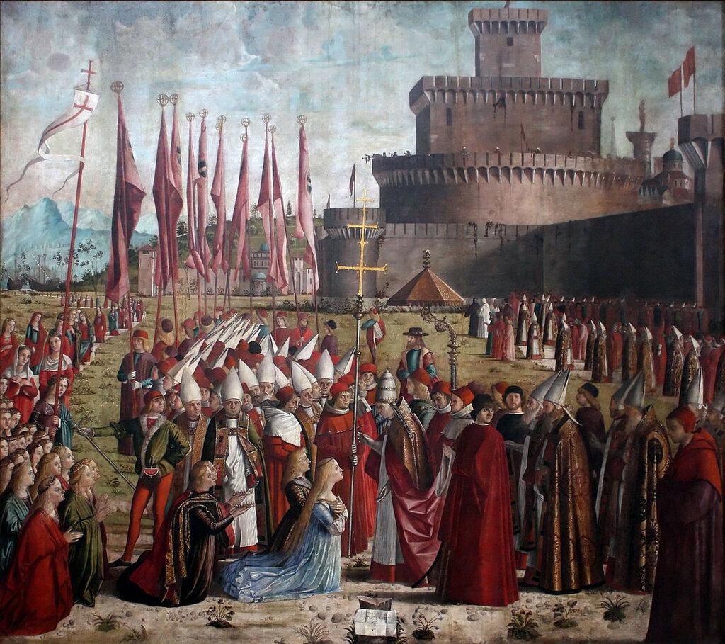 1153px-Vittore_Carpaccio_-_Sant'Orsola_polyptich_-_Incontro_dei_pellegrini_col_papa_Ciriano_sotto_le_mura_di_Roma.jpg
