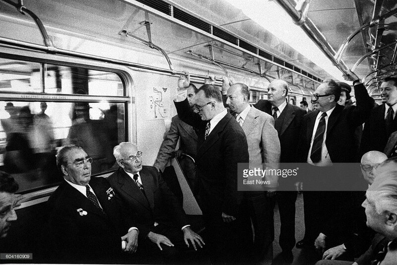Leader of the Soviet Union Leonid Brezhnev (first form the left) and next to him Gustav Husak, President of Czechoslovakia, inside a subway train in Prague.jpg