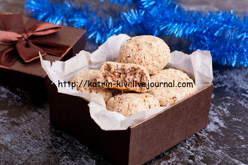 homemade cookies in a brown gift box with spices and christmas decorated, close up