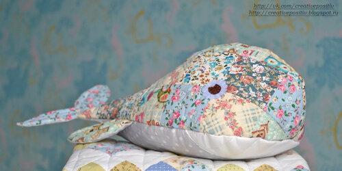 кит из ткани, печворк, мягкая игрушка кит, kit-iz-tkani