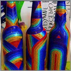 Бутылки декоративные интерьерные с росписью