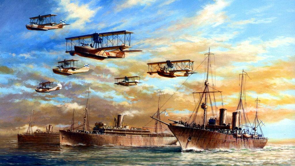 1916 08-25 Portahidros Almaz, Imperator Aleksandr I e Imperator Nikolay I - Flota del Mar Negro en 1916 contra Varna - A. Yu. Zaikin
