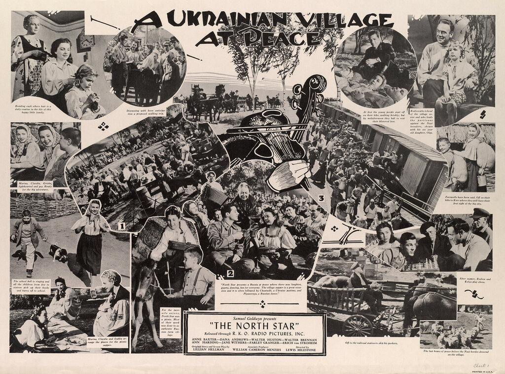 """A Ukrainian village at peace : Samuel Goldwyn presents : """"The North star"""" : released through : R. K. O. Radio Pictures, Inc."""
