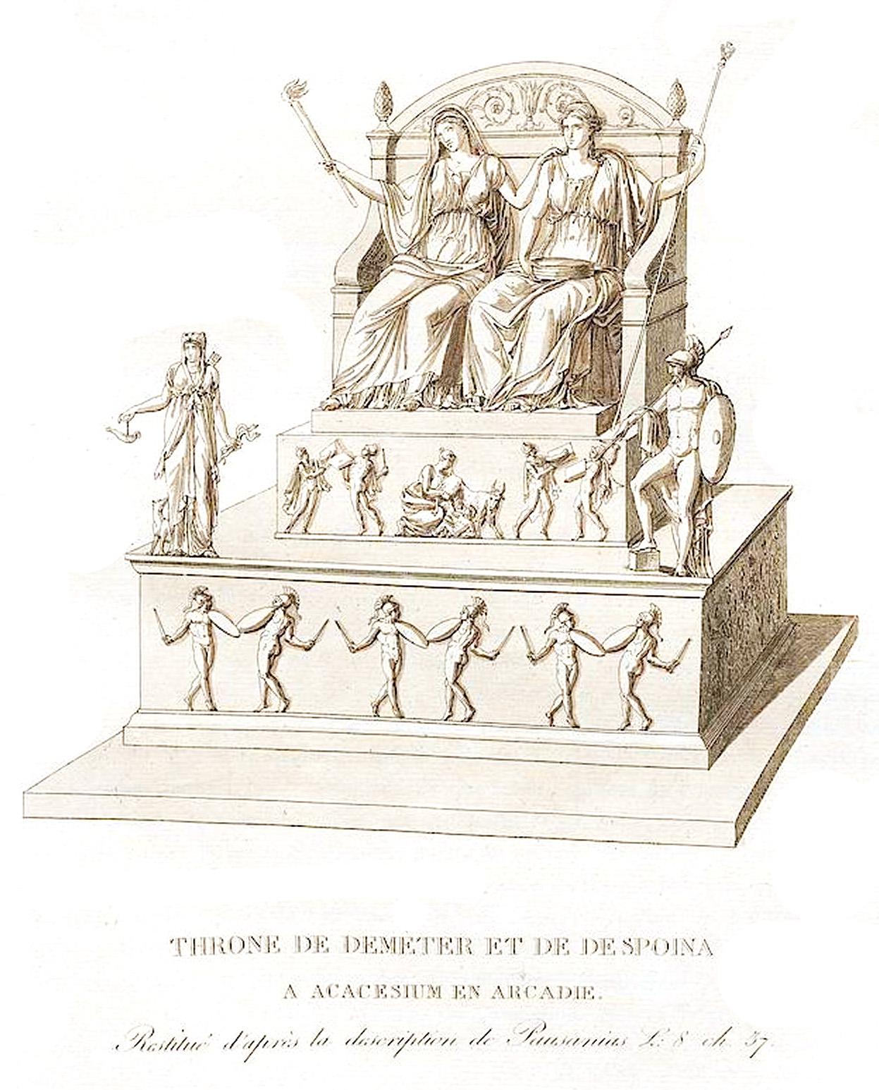 21. Трон Деметры и  Деспины в Acacesium близ Аркадии Trone de Dameter et de Despoina a Acacesium, en Arcadie
