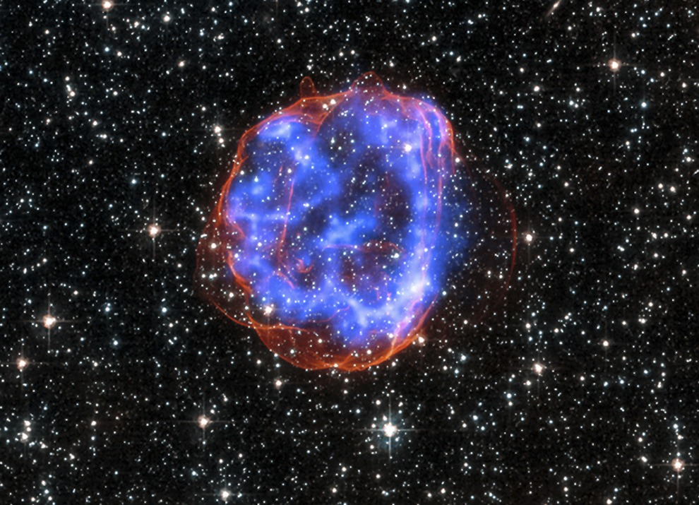 An expanding shell of debris called SNR 0519-69.0 is seen after a massive star exploded in the Large Magellanic Cloud