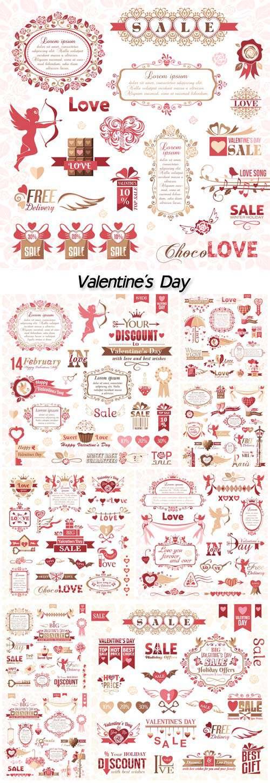 День Святого Валентина - Элементы дизайна вектор