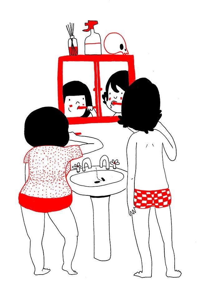 Любовь - это чистить вместе зубы и умываться