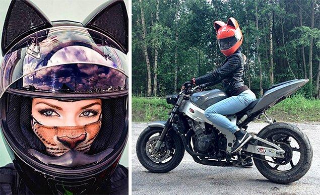 Кошачий шлем – замуррчательное дополнение к твоему мотоциклу (9 фото)