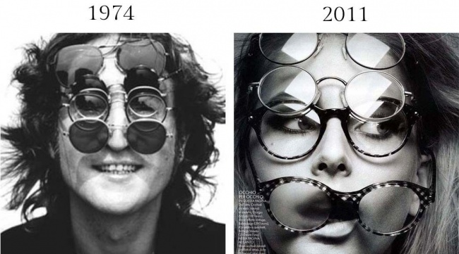 В1974 году Боб Грюен сфотографировал Джона Леннона для обложки альбома Walls and Bridges вкруглых