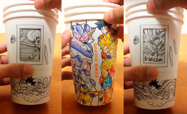Dragon Ball Paper Cup – Japanese artist creates animated manga on paper cups (9 pics)