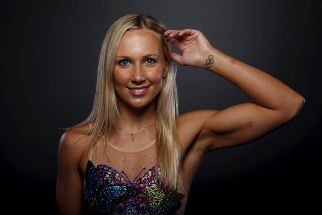 Synchronized swimmer Mariya Koroleva poses for a portrait at the U.S. Olympic Committee Media Summit