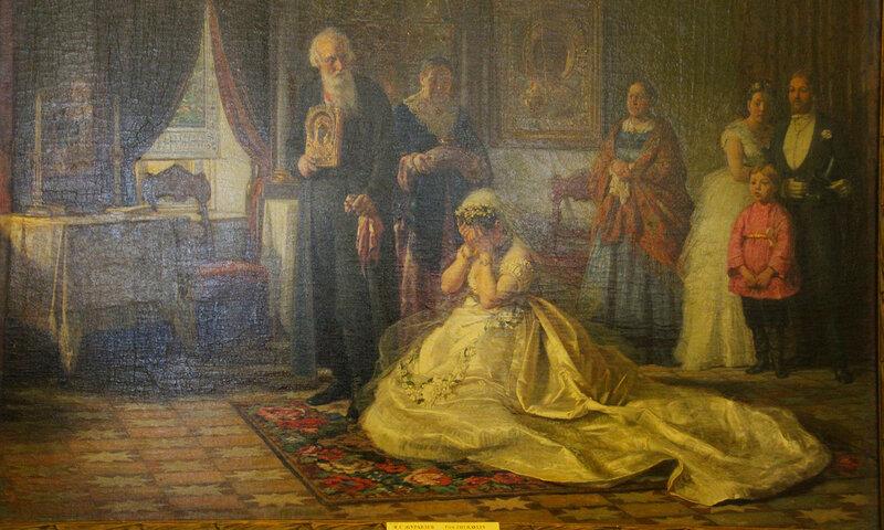 Ф.С.Журавлёв.Перед венцом 1874 г., холст. Масло.