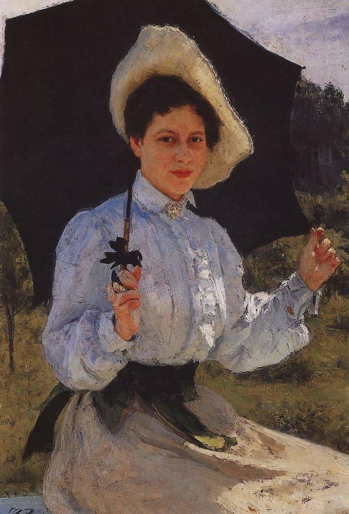 На солнце. Портрет Н.И.Репиной. 1900.jpg