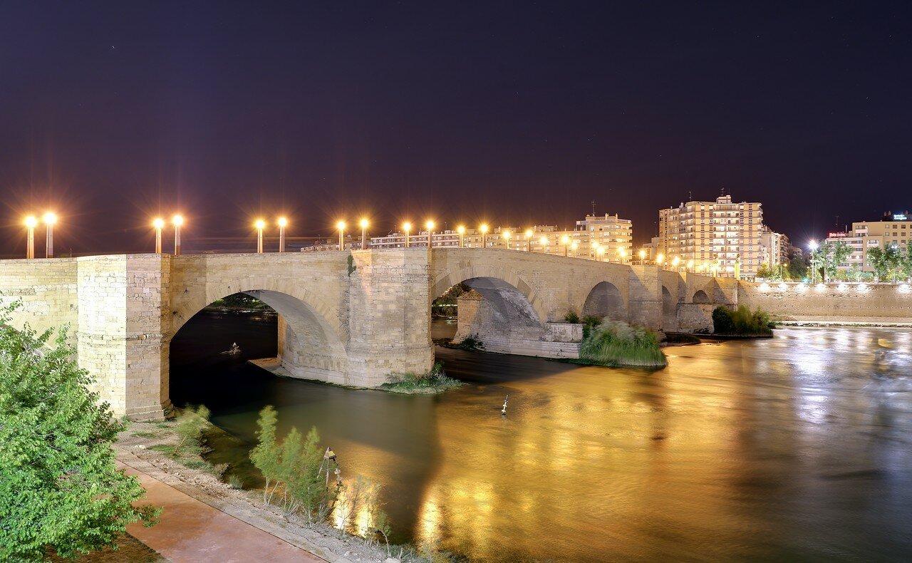 Ночная Сарагоса. Каменный мост (Puente de Piedra)
