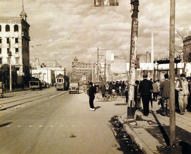 Street scene in Tokyo, showing Ginza Street. October 24, 1945