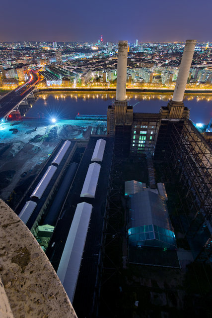 Battersea Power Station. The view from the top of one of the chimneys, prior to its redvelopment. (P