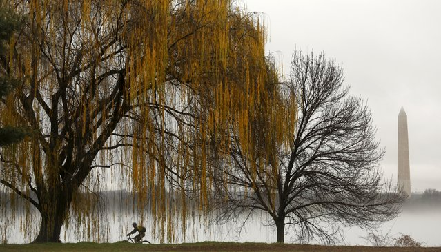 The Washington Monument is seen beyond a heavy fog clinging to the Potomac River as a cyclist makes