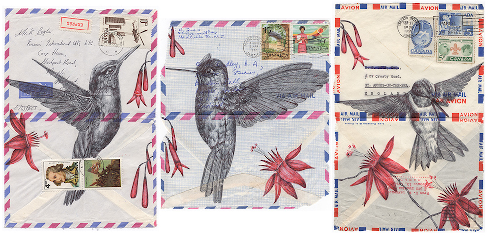 New Ballpoint Pen Illustrations on Vintage Envelopes and Maps by Mark Powell