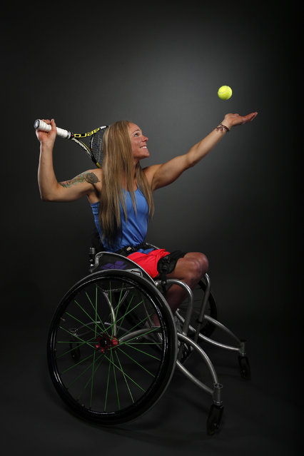 Wheelchair tennis player Kaitlyn Verfuerth poses for a portrait at the U.S. Olympic Committee Media