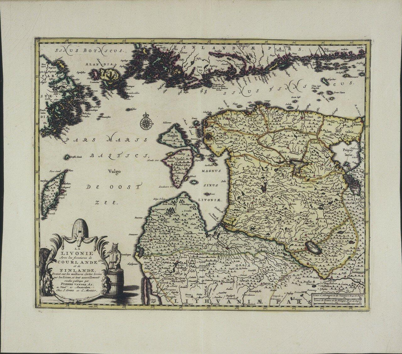 1721. Ливония с ее границами с Финляндией и Курляндией