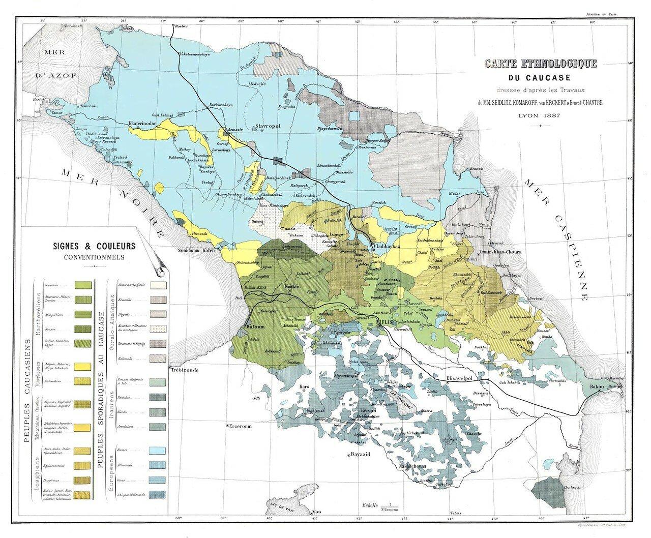 1887. Этнографическая карта Кавказа