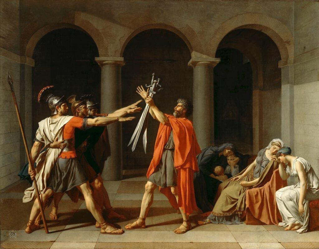 Жак-Луи Давид: Клятва Горациев Лувр, Париж (Musée du Louvre, Paris).1784, 330х425
