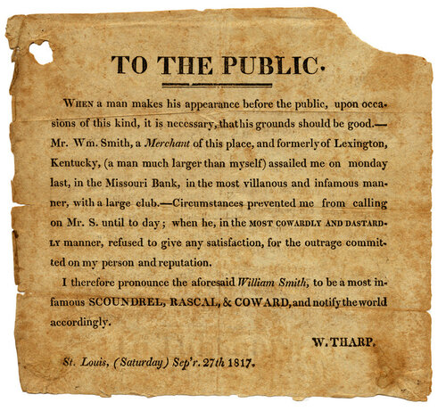 SMith Tharp Dueling notice, 1817 -- Crack of the Pistol: Dueling in 19th Century Missouri