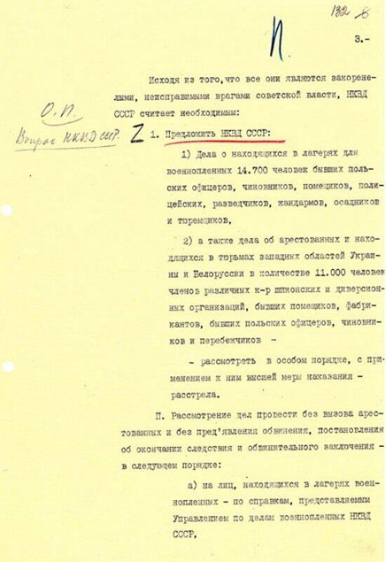 Катынь. Докладная записка наркома внутренних дел СССР Л.П. Берии