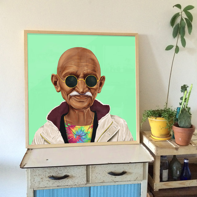 Hipstory: Gandhi portrait displayed. (Photo by Amti Shimoni/Caters News)