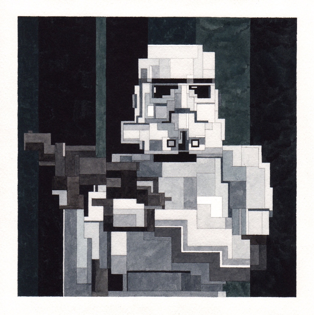 New '8-Bit' Watercolor Paintings Inspired by Famous Artworks and Pop Culture Icons by Adam Lister