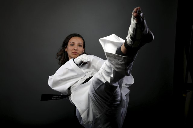Taekwondo competitor Jackie Galloway poses for a portrait at the U.S. Olympic Committee Media Summit