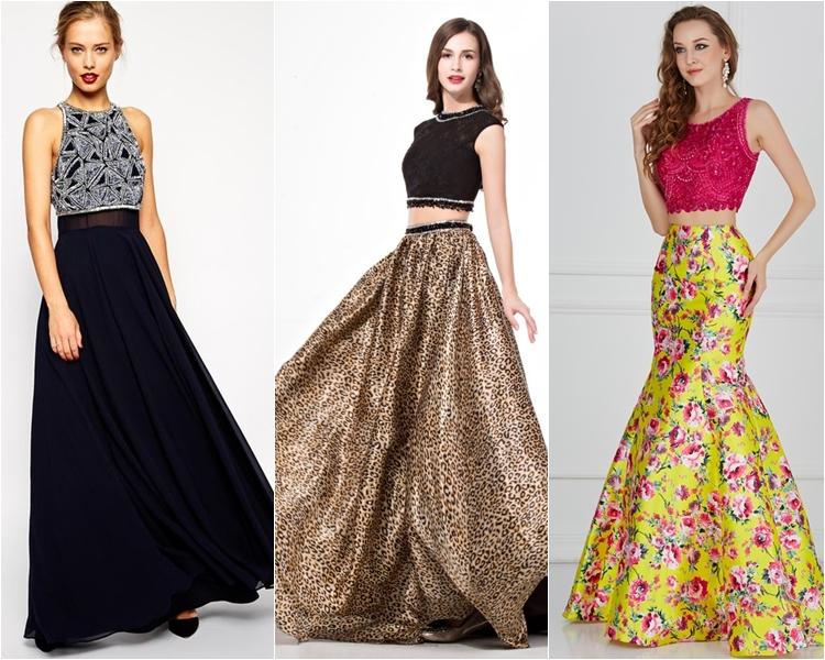 Платья с контрастными лифом и юбкой  на выпускной 2016