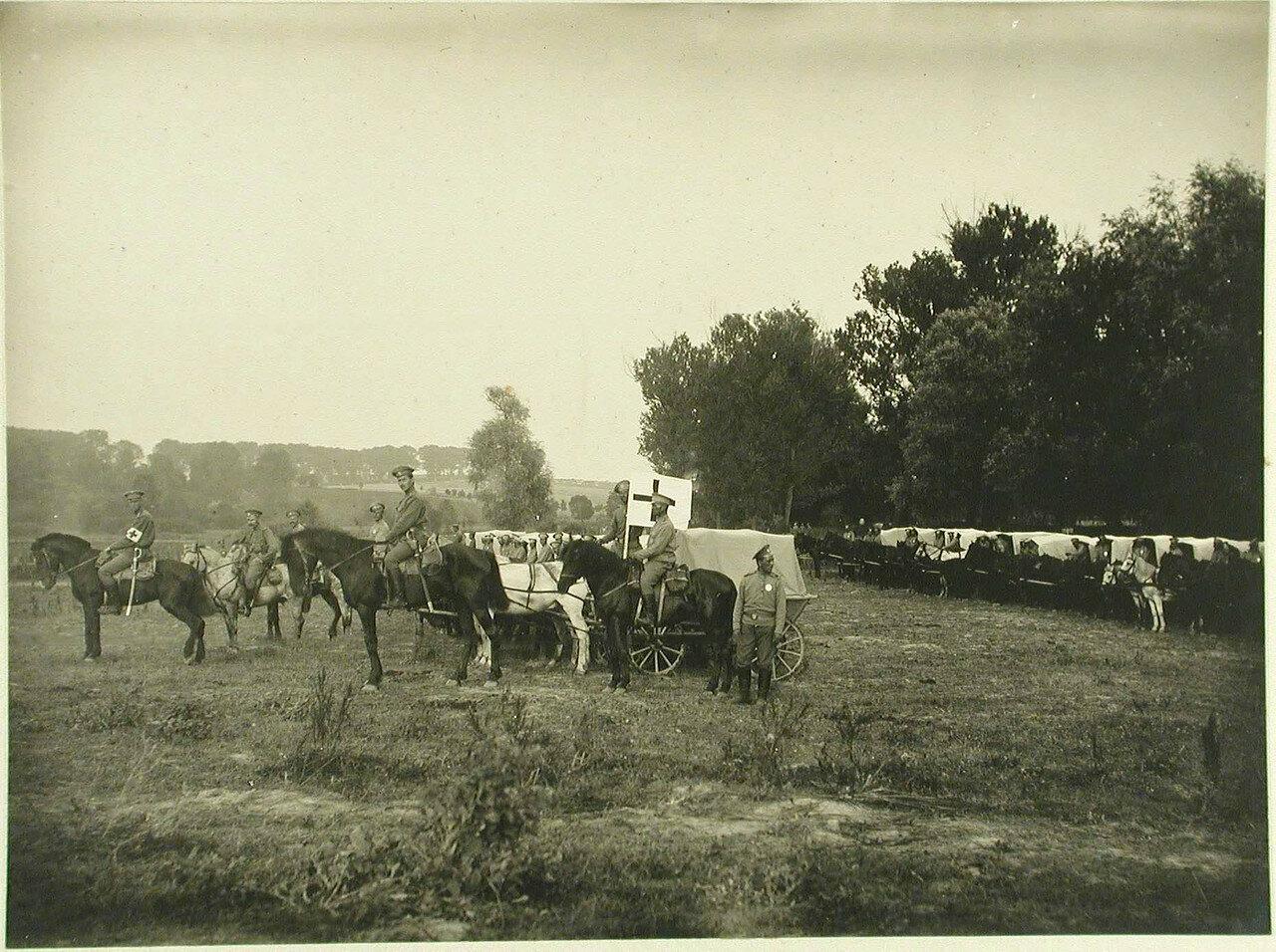 Конный санитарный транспорт отряда № 15 во время стоянки. Местечко Черный Остров, Подольская губ. 1914