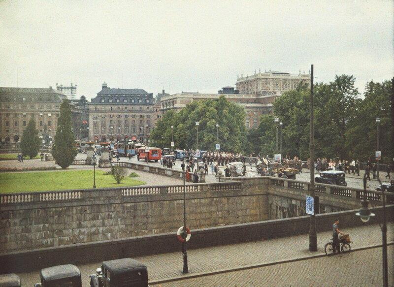 Norrbro, utsikt mot Gustav Adolfs Torg och Operan.Telefontornet skymtar i fonden.