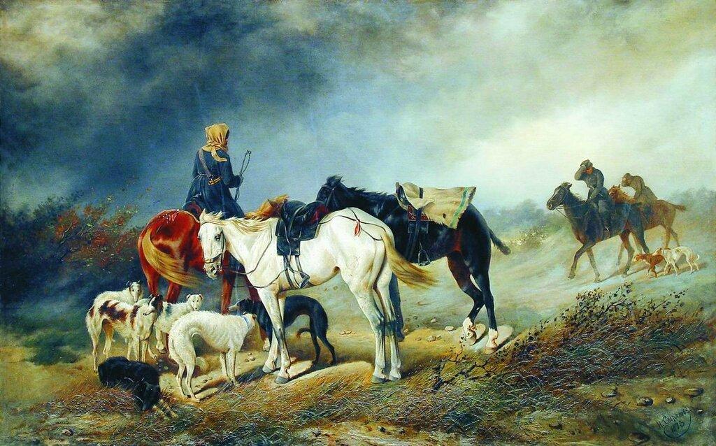Охотники в степи. 1873.jpg
