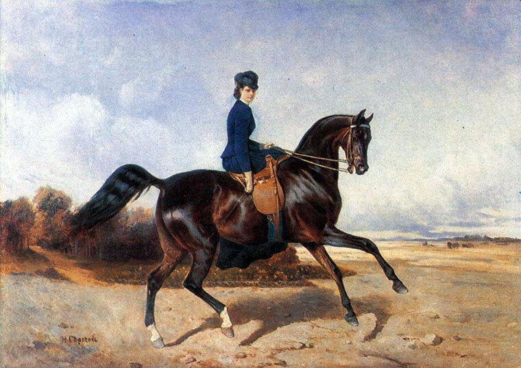 Н.Г.Сверчков. Амазонка (А.Я.Панаева) на лошади орлово-ростопчинской породы