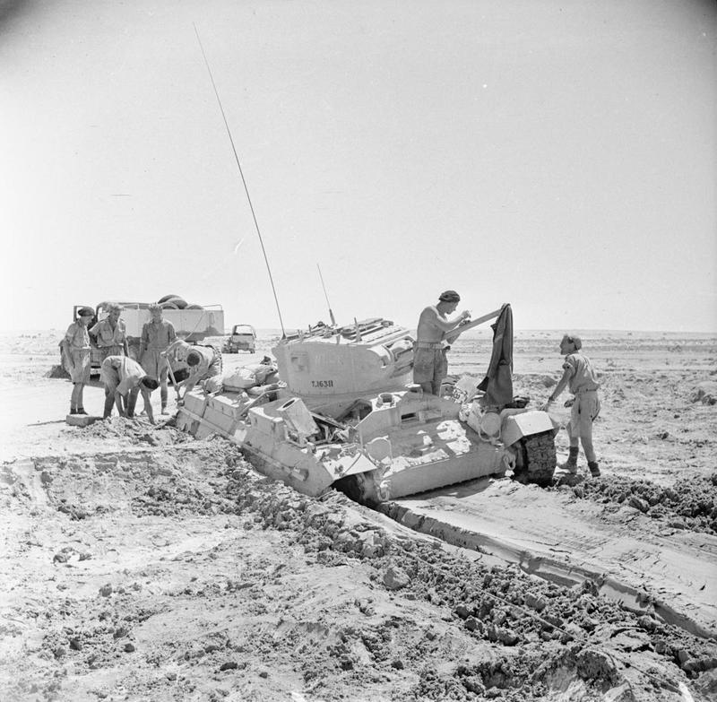 A Valentine tank bogged down on soft ground, 17 July 1942