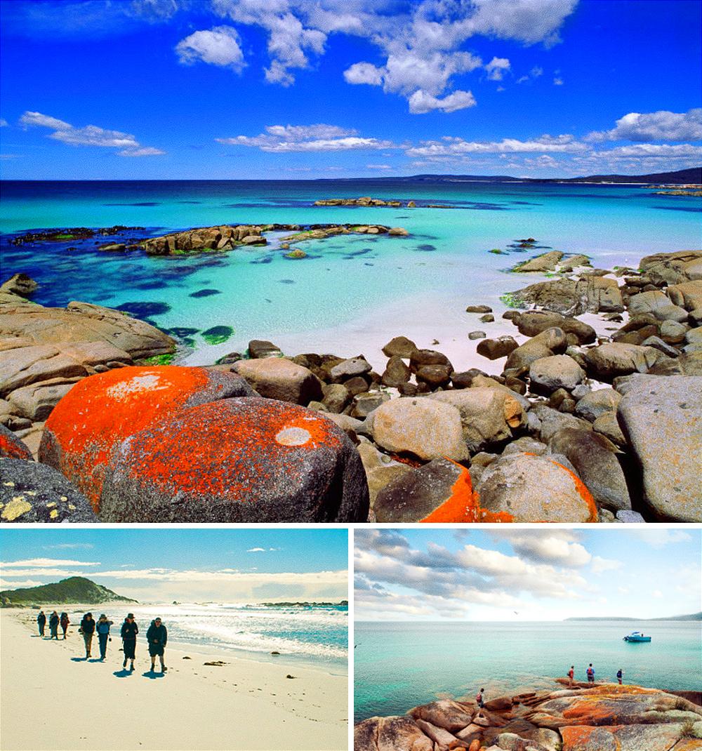 Залив огней получил свое название из-за необычного цвета прибрежных скал, покрытых ярко-оранжевым ли