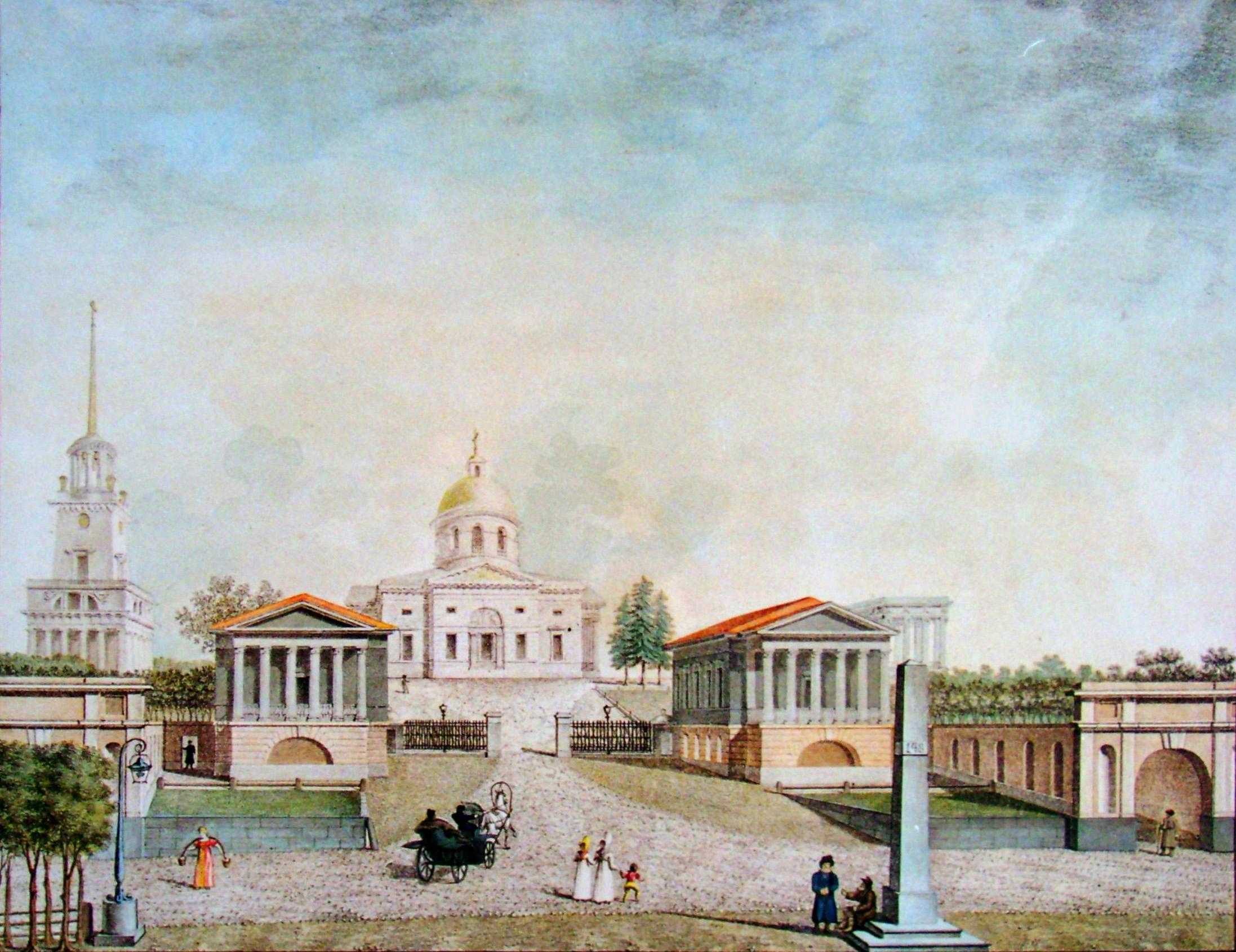 5. Вид Площади у Гошпиталя 1822 г. Р<исовал> на кам<не> Арх<итектор> Семенов.