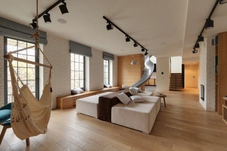 Creative Apartment with a Slide by Ki Design - Archiscene - Your Daily Architecture & Design Update