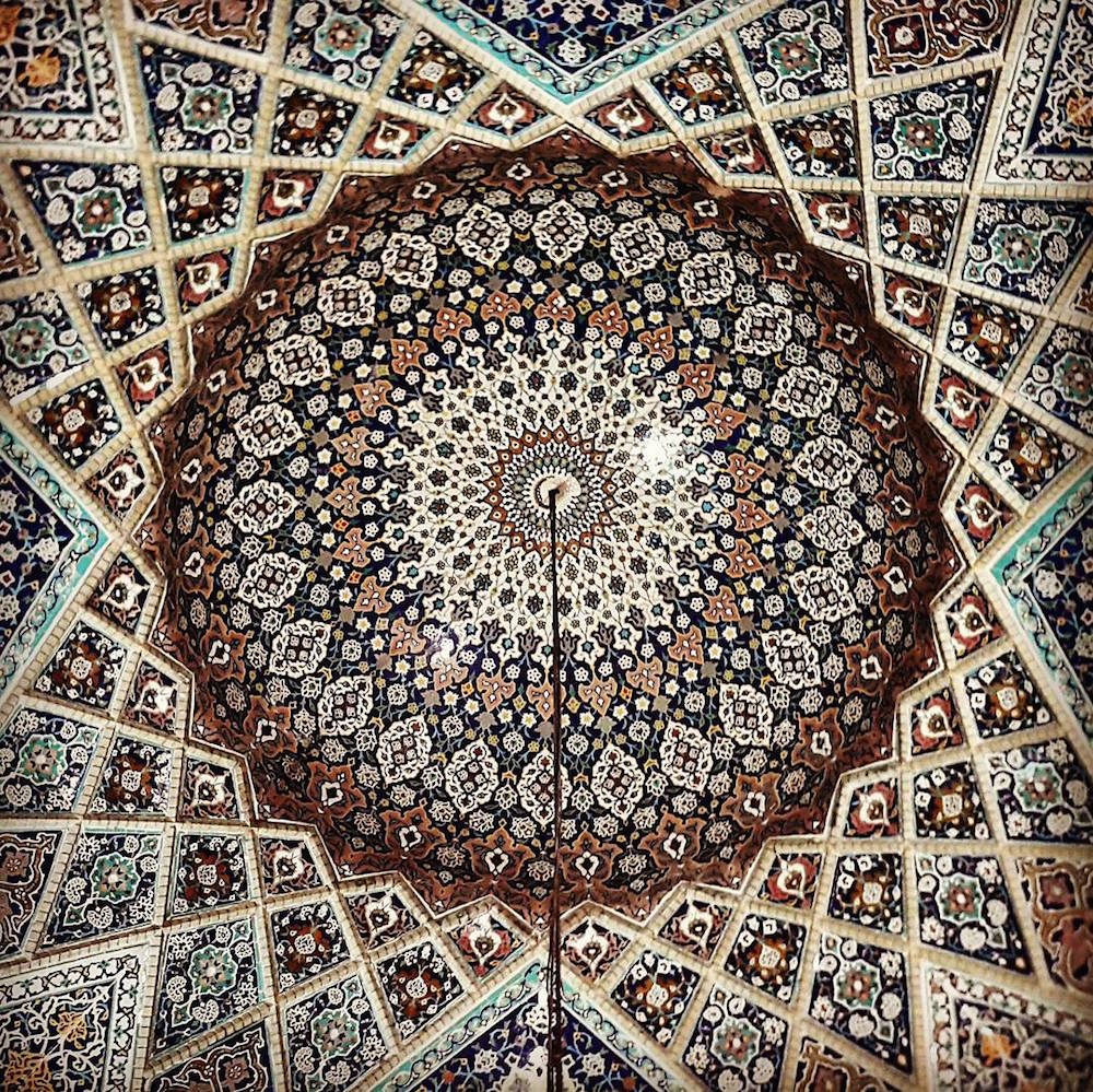 Celling of Shahe-Cheragh's mosque in Shiraz, Iran