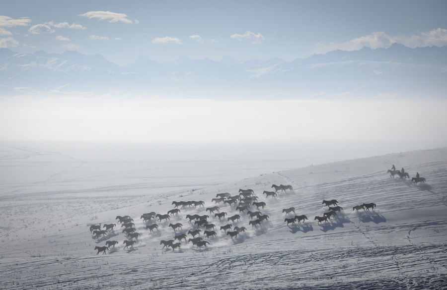 Herders ride horses on snow-covered field in Zhaosu County, Yili, Xinjiang Uighur Autonomous Region,
