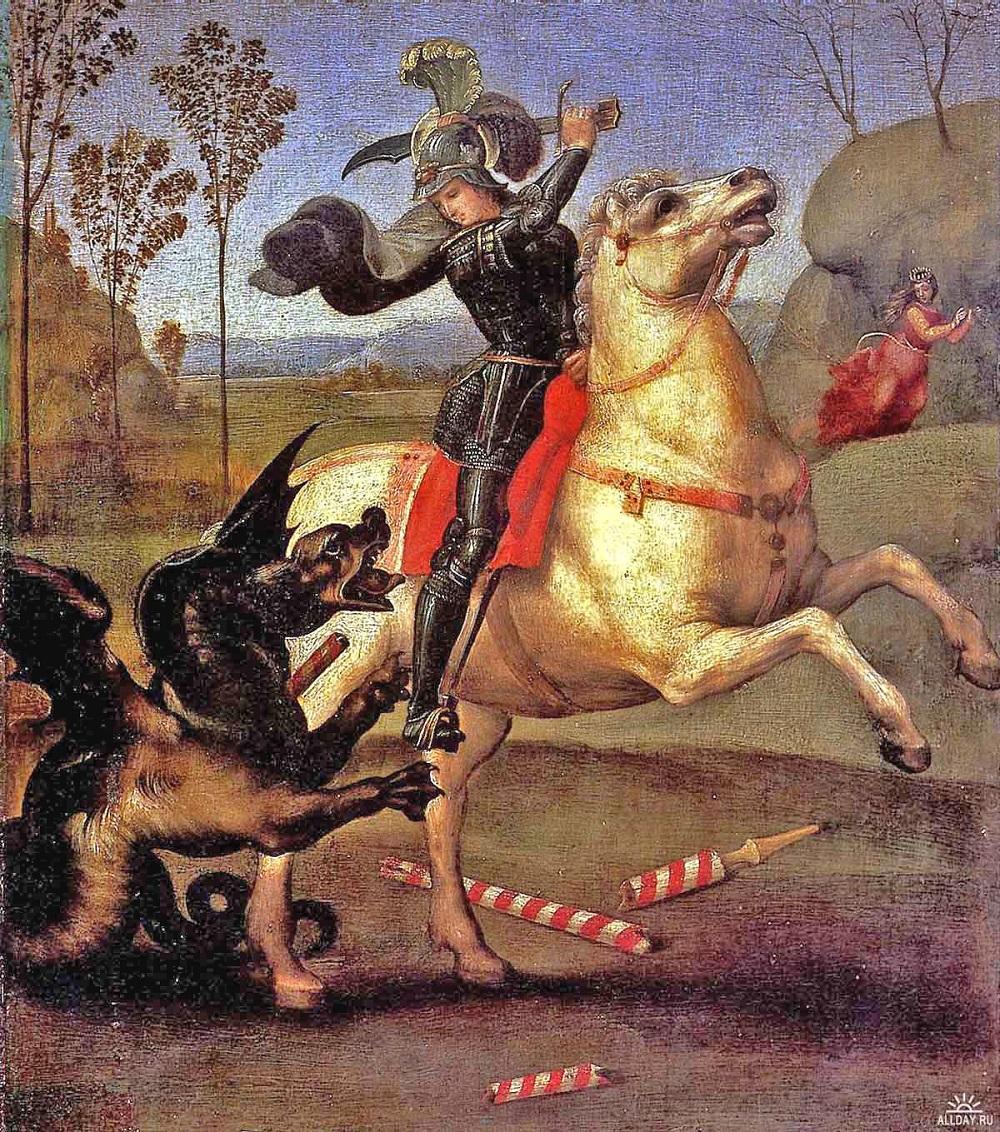 1503  Рафаэль Санти - Святой Георгий. 1503-05 гг. Масло на древесине, 29 x 25 см. Музей Лувр, Париж.jpg