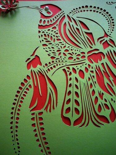 Мастер-класс контурной открытки Колибри